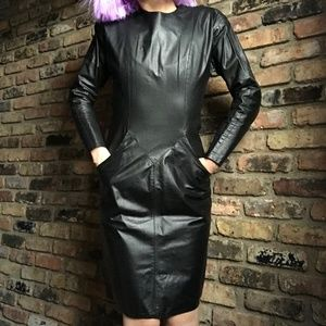 vintage genuine leather dress | 1980s dress